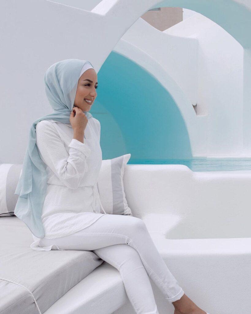 sky blue hijab outfit